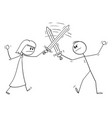 man and woman fighting with swords relationship vector image