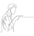 man pointing with finger continuous line drawing vector image vector image