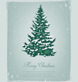 merry christmas greeting christmas tree in the vector image