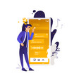 mobile applications concept man standing near vector image