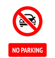 no parking prohibition sign modern label ready vector image