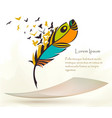 old colorful feather with flying paper vector image