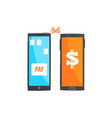 payment transaction with smartphones mobile vector image