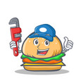 plumber burger character fast food vector image vector image