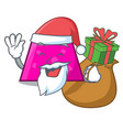 santa with gift trapezoid mascot cartoon style vector image vector image