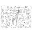 set doodle animals outline cartoon vector image vector image