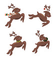 set of christmas running deer collection of vector image