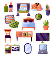 set of furniture and interior items all the vector image vector image