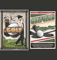 sport golf club poster with player and game items vector image