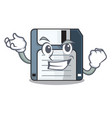 successful floppy disk isolated with a mascot vector image vector image
