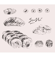 Sushi Set Hand drawn Engraving Vintage vector image vector image