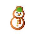 tasty snowman fresh gingerbread with green bucket vector image vector image