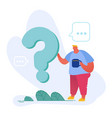 thoughtful and doubtful male character stand near vector image