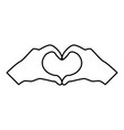 two hands have shape heart hands making heart vector image vector image