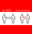 two persons social distancing icon vector image vector image