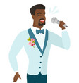 young african groom singing to the microphone vector image vector image