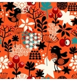 Orange seamless pattern with cute singing birds vector image