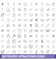 100 tourist attractions icons set outline style vector image vector image