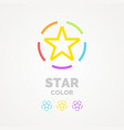 a colored star on white background sign vector image