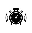 alarm clock icon black sign vector image vector image