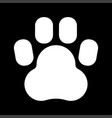 animal footprint white color icon vector image vector image