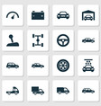 auto icons set collection of repairing crossover vector image