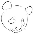 black and white hand drawn linear sketch of panda vector image