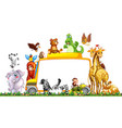 border template with cute animals vector image