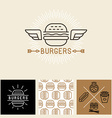 burger logo design elements and package template vector image vector image