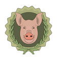 Butchery eco logo Pig head in laurel wreath Green vector image vector image