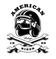 cafe racer helmet with wrenches on white vector image vector image
