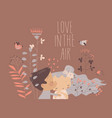 cartoon happy couple in love kissing surrounded vector image vector image