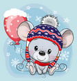 cartoon mouse in a knit cap with a red balloon vector image vector image