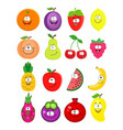cartoon set of different fruits peach lemo vector image vector image
