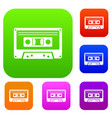 cassette tape set collection vector image vector image
