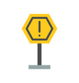 caution sign post icon flat design vector image vector image