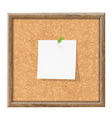 Cork Board With Blank Note Paper vector image vector image