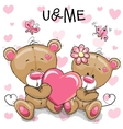 Cute Teddy Bears with heart vector image vector image