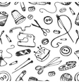 Doodle pattern of tailor business vector image