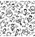 easter background with chickens floral spring vector image vector image