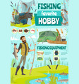 fisher with fish and rod cartoon vector image vector image