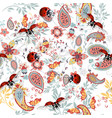 floral seamless pattern with ethnic ornament lady vector image vector image