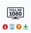Full hd widescreen tv 1080p symbol vector image vector image