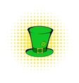 Green leprechaun cylinder hat icon comics style vector image vector image