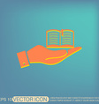 hand holding a open book sign vector image