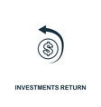 investments return outline icon thin line element vector image vector image