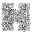 letter h dudling drawing mandala vector image