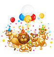 lion family in party theme isolated on white vector image vector image