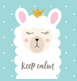 little cute princess llama with crown for card and vector image vector image