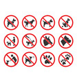 no dogs sign dog prohibition icons set vector image vector image